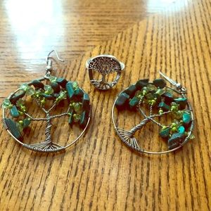 Tree of Life Ring and Earrings Set